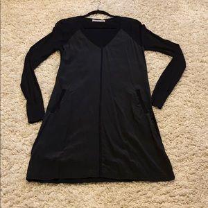 Cluny knit and silk long sleeve dress